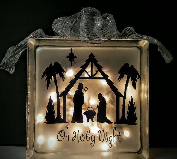 Best Christmas Lighted Glass Block Images On Pinterest - Nativity vinyl decal for glass block light