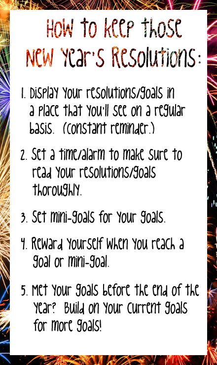 How to Keep Those New Year's Resolutions