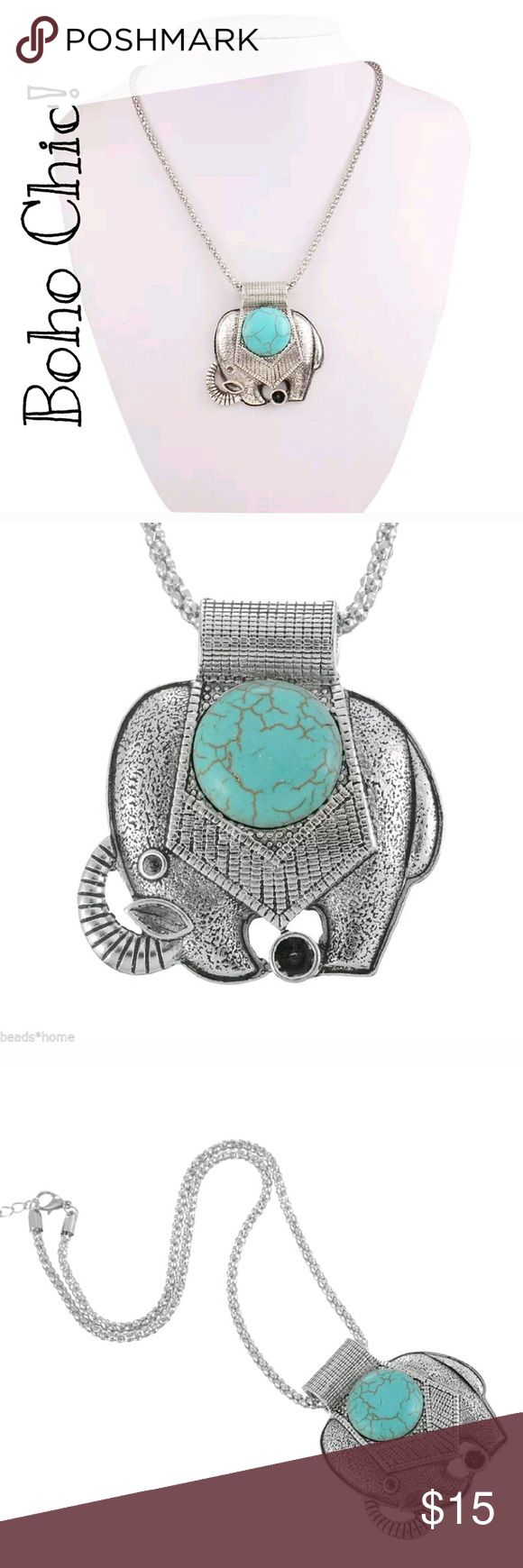 🔮BOGO Turquoise & Silver Elephant Boho Necklace 🔮Everything in my closet is temporarily BOGO HALF OFF! See closet sale listing for rules.🔮   PRICE FIRM!  This adorable necklace is new. It's silver w/a turquoise colored stone. The quality is nice for this price point. I have 2 available as of the time of this listing, but elephant jewelry sells fast! The turquoise will obviously have variation from the stock photo. Please ask if you want a pic of the actual necklace. I'll be glad to take…