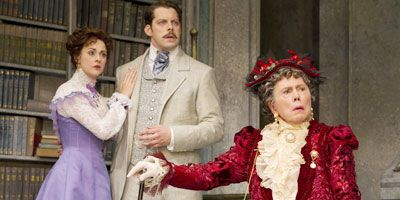 "Brian Bedford, Jayne Houdyshell and Santino Fontana in ""The Importance of Being Earnest""."