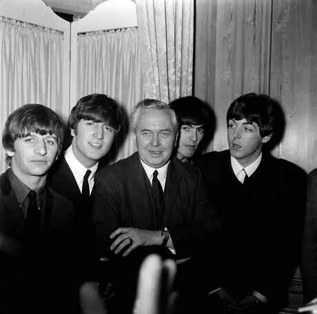 "Harold Wilson with The Beatles. He along with Ted Heath was the inspiration behind their song, ""Taxman."""