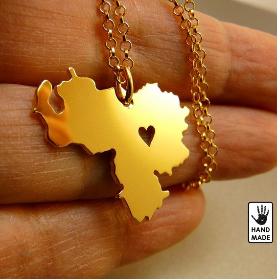 Gold Venezuela pendant plated 24K gold chain plated by StefanoArt, $55.00