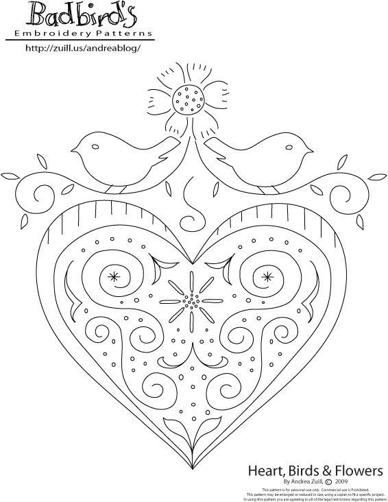 folk art heart, bird and flowers folkart from badbird's, free embroidery pattern