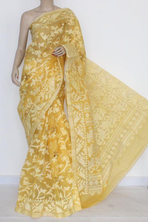 Golden Yellow Handwoven Bengal Tant Cotton Saree (Without Blouse) Jamdani 17271 13
