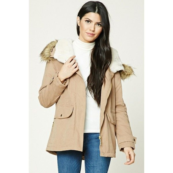 Forever21 Faux Fur Trimmed Parka ($35) ❤ liked on Polyvore featuring outerwear, coats, camel, long parka, beige coat, fur-lined coats, faux fur lined coat and hooded coat