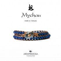 Mychau - Bracciale Vietnam originale realizzato con Lapislazzuli naturali su base bracciale col. Marrone