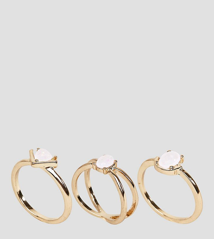 ASOS CURVE Pack of 3 Fine Faux Opal Stone Rings - Gold