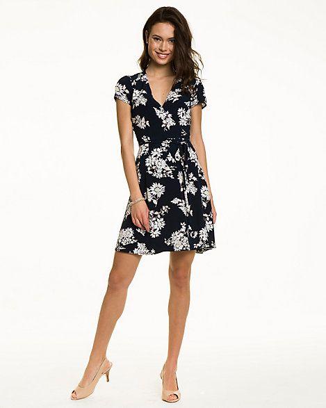 Daisy Cluster Faux Wrap Dress
