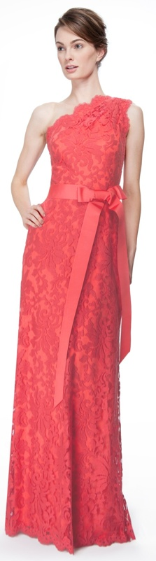 Embroidered Lace One Shoulder Gown in Cantaloupe - Tadashi Shoji.