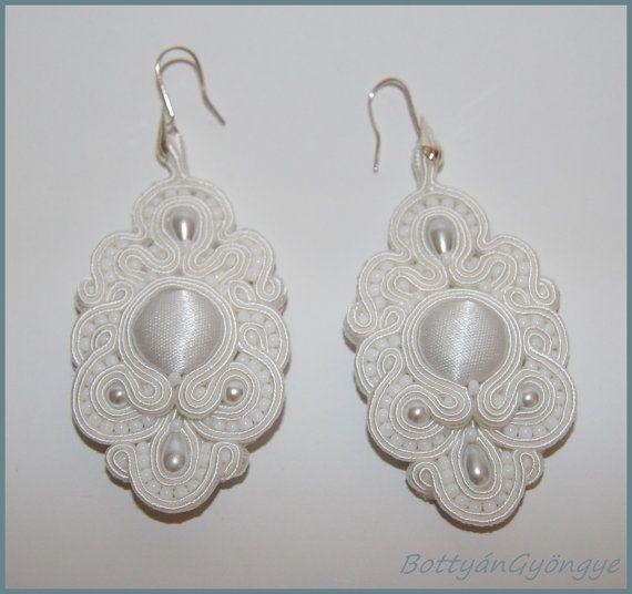 Snowwhite soutache wedding earrings by BottyanGyongye on Etsy