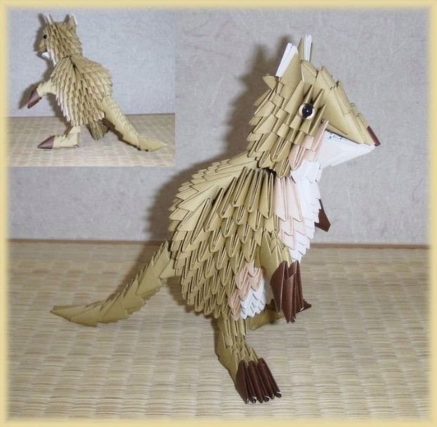 origami 3d origami kangaroo origami and papercraft. Black Bedroom Furniture Sets. Home Design Ideas