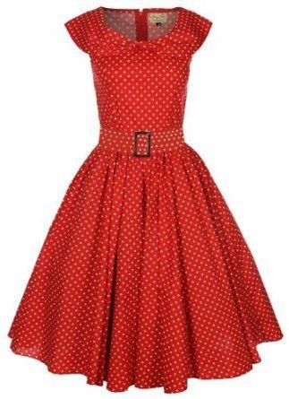 Amazon.com: Lindy Bop 'Hetty' Red Polka Dot Bow Shawl Collar Vintage 1950'S Rockabilly Swing Party Dress: Clothing