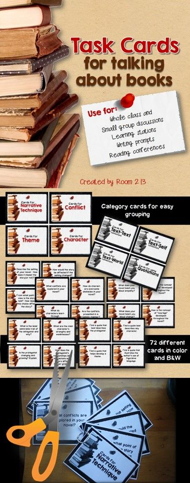 Use these task cards to help you manage independent reading.  They can be used for writing prompts, whole and small group discussions, learning stations and reading conferences. #readingtaskcards