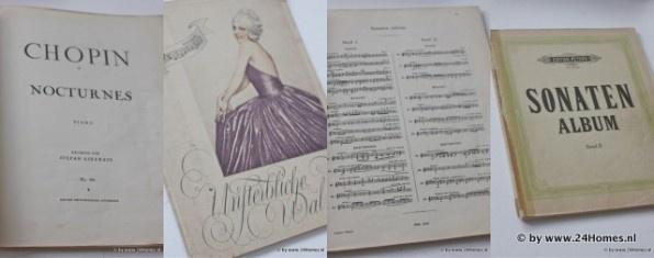 Music books collected by 24Homes.  Muziekboeken verzameld door 24Homes.  Brocante, Vintage and Shabby Chic vind je op www.24Homeswebshop.nl