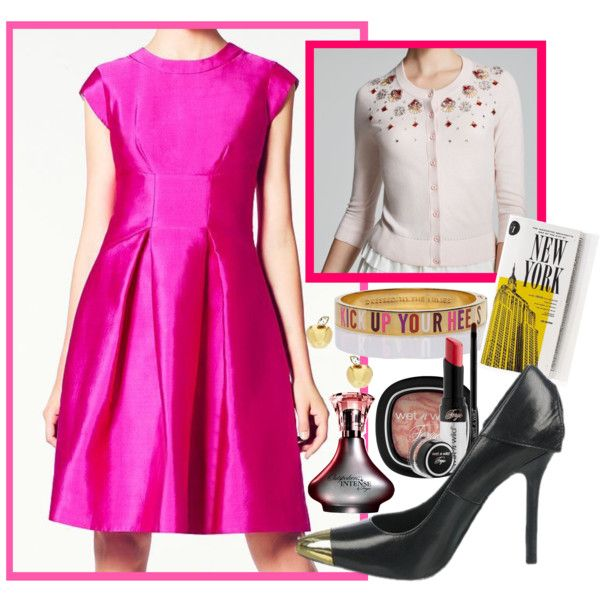 What could be more perfect for tonight's QVC Presents Fashion Footwear Association of New York – FfaNY #BreastCancerAwareness #CharityGala than a #brightpink #fitandflare dress? Celebrate the #ladylike trend with an ode to classic elegance—pair your flouncy frock with a rosy cardigan embellished with jewels for a stunning cocktail ensemble. Shimmering #Fergie #pumps gives your look a sweet finish.