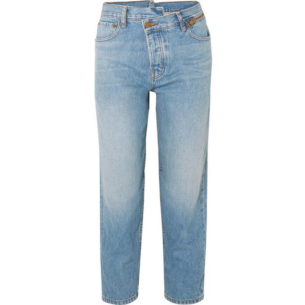 MonseDad Deconstructed Zip-embellished Slim Boyfriend Jeans (845,725 KRW) ❤ liked on Polyvore featuring jeans, mid denim, embellish jeans, slouch jeans, blue slim fit jeans, embellished boyfriend jeans and boyfriend jeans