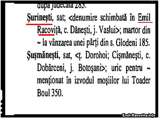 Care este denumirea corectă a satului Emil Racoviță : Șurănești, Surănești, Șoronești, Șorănești, Sorănești,etc?
