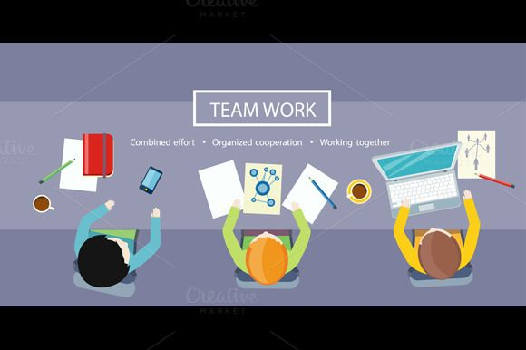 Team Work Concept. Business Meeting by robuart on Creative Market