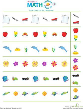 Worksheets: Circle Up! Patterns #2 (Preschool)