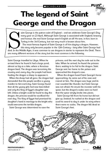 A selection of facts, poems and a wordsearch to teach children about dragons and the patron saint of England.