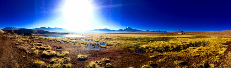 The view right after sunrise you see after going for a early morning dip in the titio geyser thermal water in the Atacama Desert Chile [1439x424] by Snapchat:Garcia.Carlos