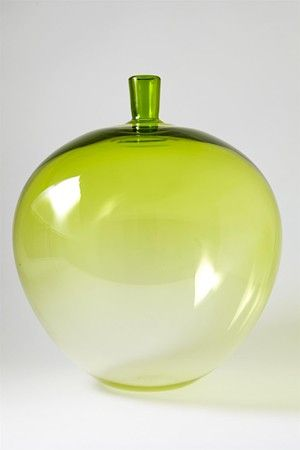 Vase/sculpture. The Apple. Designed by Ingeborg Lundin for Orrefors, Sweden. 1957.