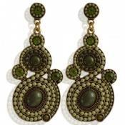 Groene oorbellen met groene strass (steker)