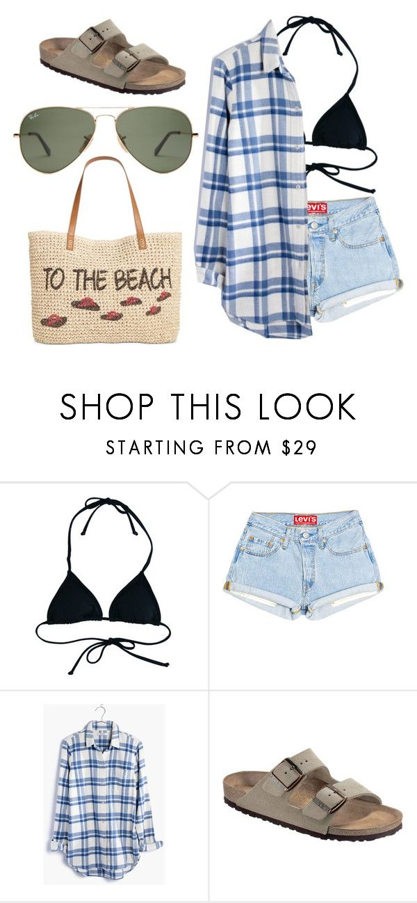 """after beach outfit"" by designertrin on Polyvore featuring Reef, Madewell, Birkenstock and Style & Co."