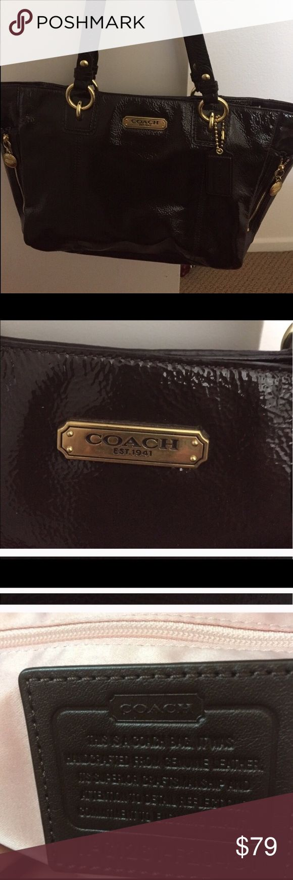 Like NEW * Satchel by Coach, PERFECT ~ Cute!! Like NEW * Satchel by Coach, PERFECT ~ Cute!! Color: Brown. Patent leather. Authentic. Bought at Cabazon Coach Factory Outlet. Used about two hours ~ then stored in closet for last year ~ reducing personal collection ~ absolutely PERFECT! Coach Bags Satchels