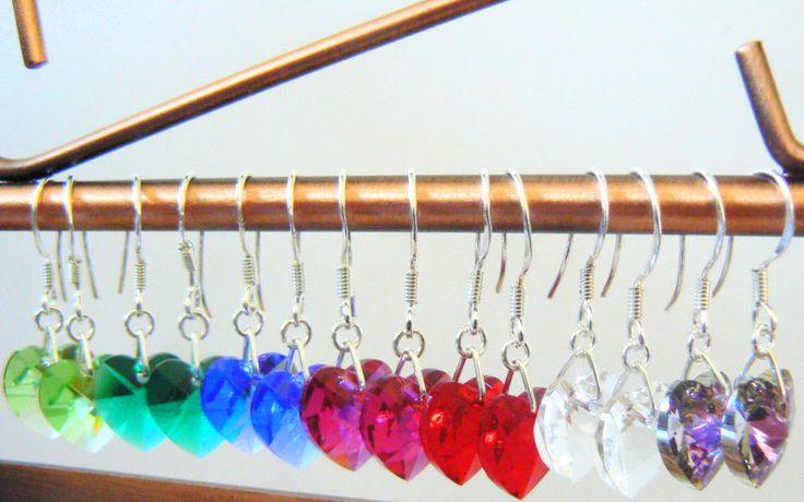 Swarovski Crystal Heart Drop Earrings, Boho Jewellery, Bridal Jewellery by clutchandclasp on Etsy