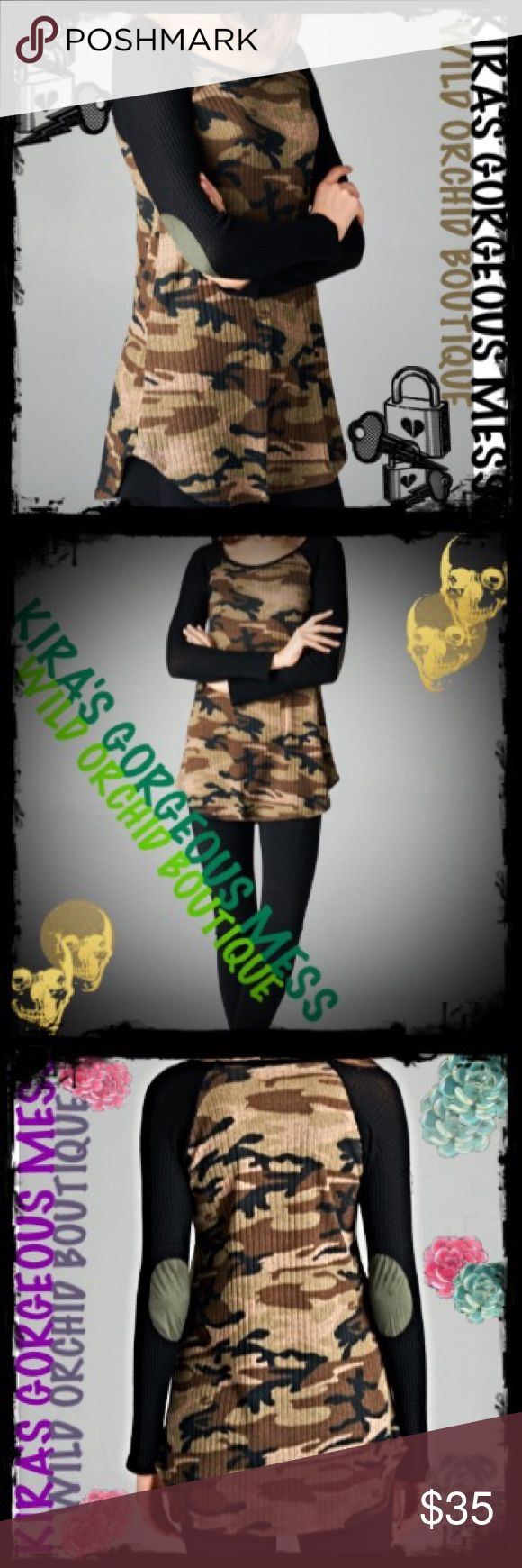 BNWT LONG SLEEVE TWO TONE CAMOUFLAGE SHIRT BNWT LONG SLEEVE TWO TONE CAMOUFLAGE SHIRT; CAMO IS IN TIME TO DROP IT LIKE ITS HOT LADIES!!!! Wild Orchid Boutique Tops Tees - Long Sleeve