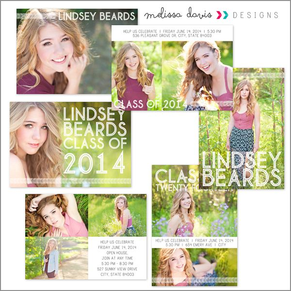 Lindsey senior announcements - $20.00 : Melissa Davis Designs, Photoshop templates, Card templates, album templates and more for the every day photographer