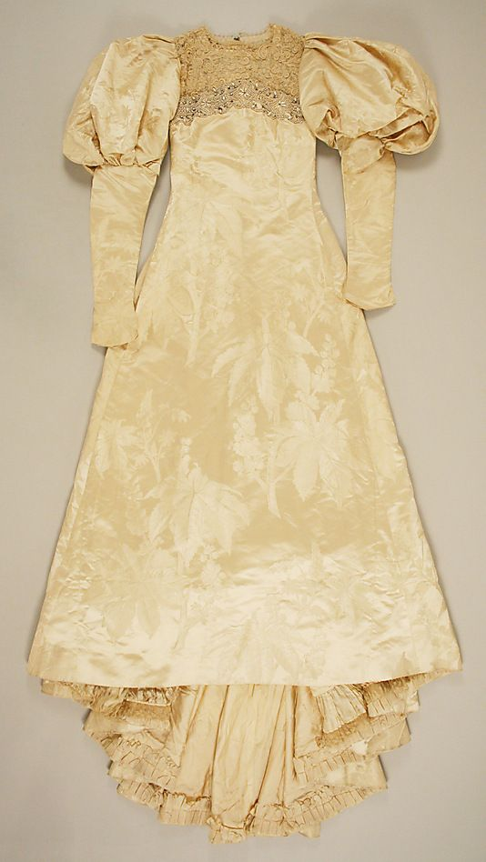 Wedding Dress.  House of Worth (French, 1858–1956).  Date: ca. 1896. Culture: French. Medium: silk. Dimensions: Length at CB: 75 1/2 in. (191.8 cm).