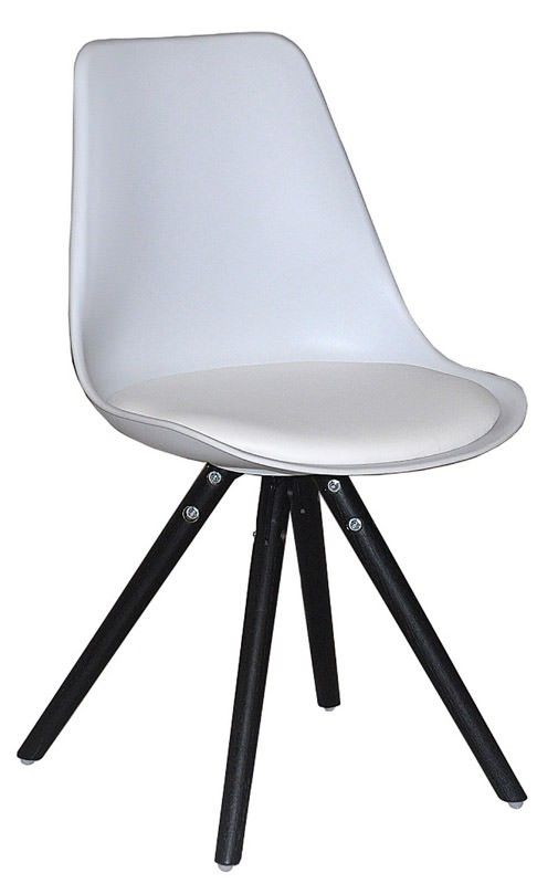 Woody Spisebordsstol - Smart spisebordsstol i hvid plast med sæde i hvid kunstlæder samt elegante ben i sort. Spisebordsstolens skalform og polstrede sæde sørger for optimal siddekomfort. Anvend spisebordsstolen i den moderne spisestue.