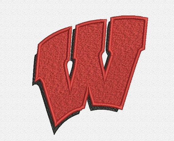 """Wisconsin Badgers embroidery designs. Letter Logo. Formats: CSD, DST, EXP, HUS, JEF, PES, SHV, VIP, XXX, VP3,   Sizes:  2.76x2.83"""", 3.74x3.82"""", 4.73x4.84"""""""" .  Price 2.50$   Contacts:  provokatro04@rambler.ru"""