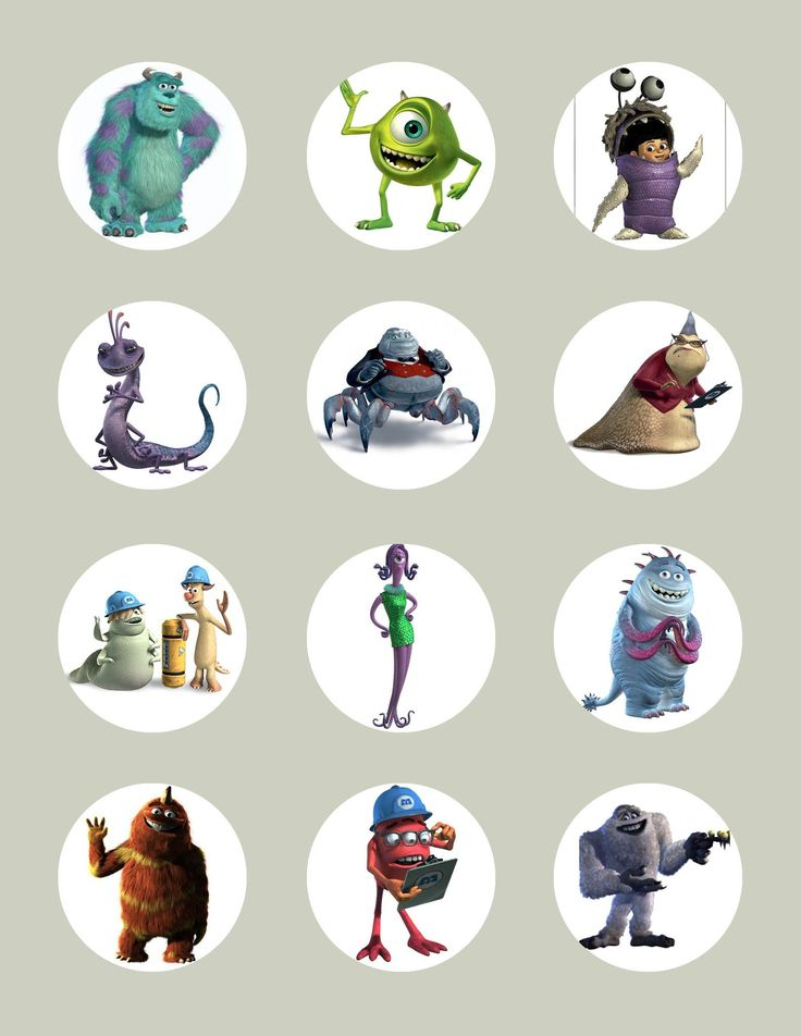 Monsters Inc Character-Inspired Edible Icing Cupcake or Cookie Decor Toppers - MI1