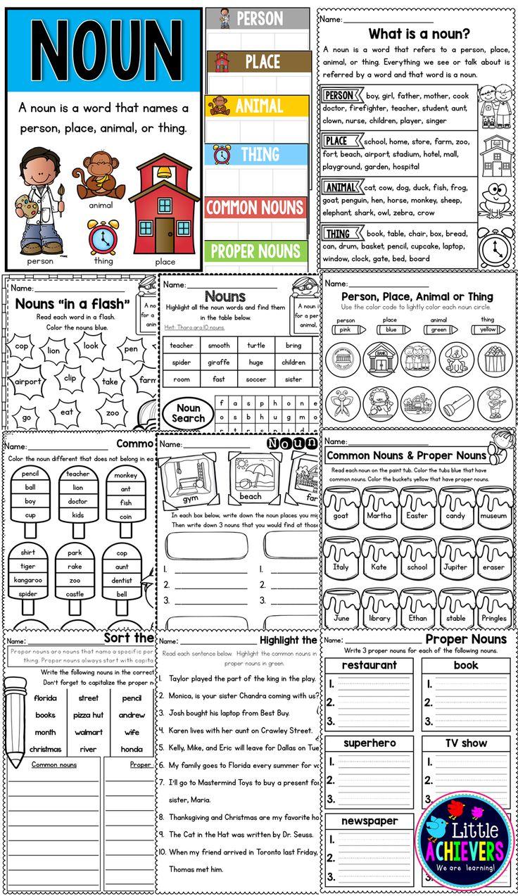 Common noun worksheet for 1st grade