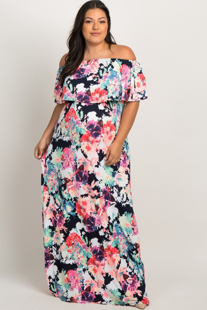 593f940543a Navy Neon Floral Flounce Off Shoulder Maternity Plus Maxi Dress in ...