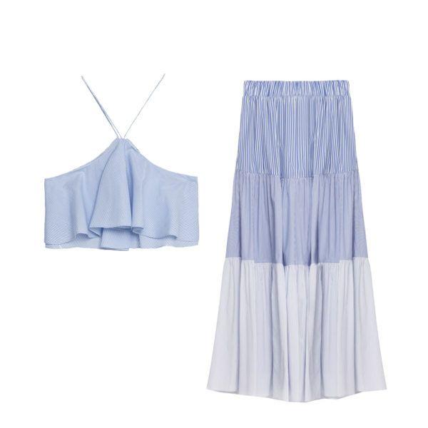 Zara ruffle top and maxi skirt