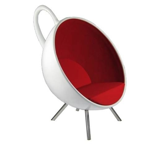 Fine Mod Imports FMI9244 Tea Cup Chair in Red/White