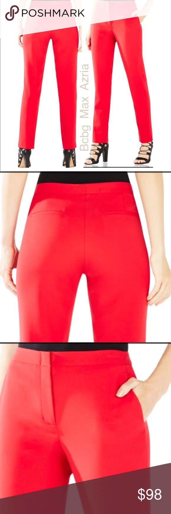 Bcbg Max Azria Tarik Slim Fit Trousers Burnt Poppy Worn Twice!! Make this must-have pant a wardrobe staple. Mix and match for a perfect office look or dress it down for weekend chic. Front slash pockets, back welt pockets, slit at ankle. Front zipper with hook-and-bar closure. Self: Double face suiting in polyester, rayon, spandex. Lining: 1. Stretch crepe de chine - polyester. 2. Stretch poplin - cotton. Washable, dry clean recommended. Size 04 - Lightweight, non-stretch fabric. High rise…