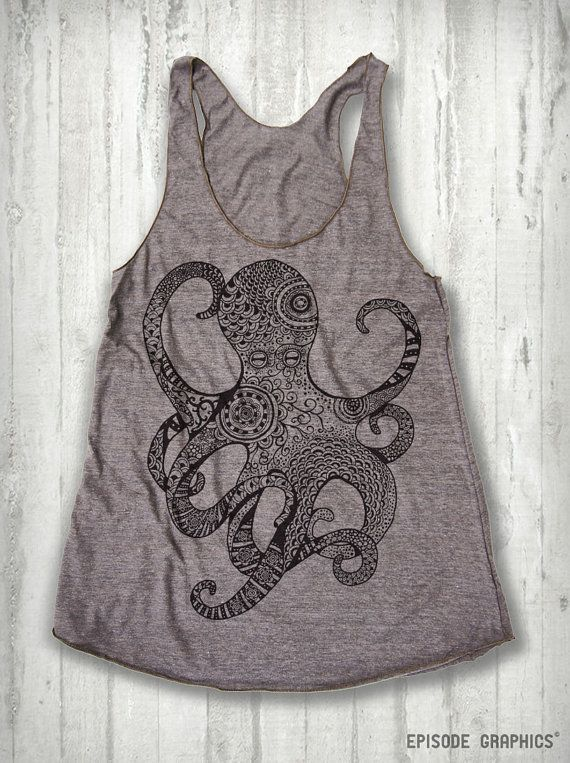 Octopus print Tri  Blend American Apparel Tank by EpisodeGraphics, $18.00