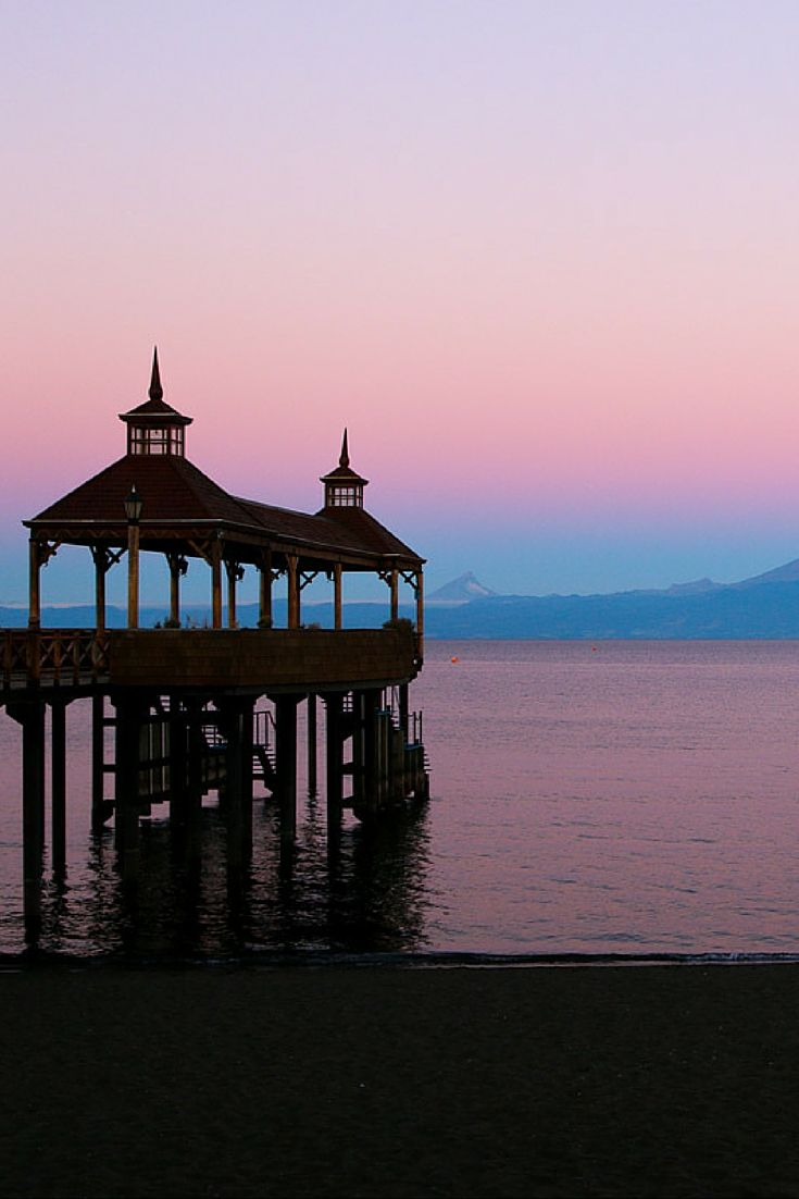 Pier at sunset in Frutillar, Chile