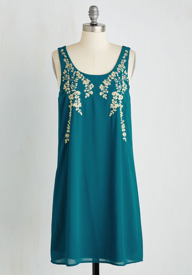 Everything Exquisite Dress in Teal. Youve planned for this party for months, now help it come to life in this teal blue shift dress. #blue #modcloth