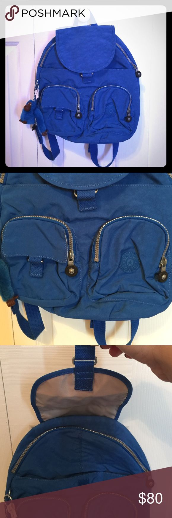 """Kipling """"Lovebug"""" Royal Blue Backpack! This is a small Kipling backpack and is new without tags (got it as a gift!) It has a TON of pockets and compartments to store things! It comes with a blue monkey named Joanna and the straps of the backpack are adjustable! Kipling Bags Backpacks"""