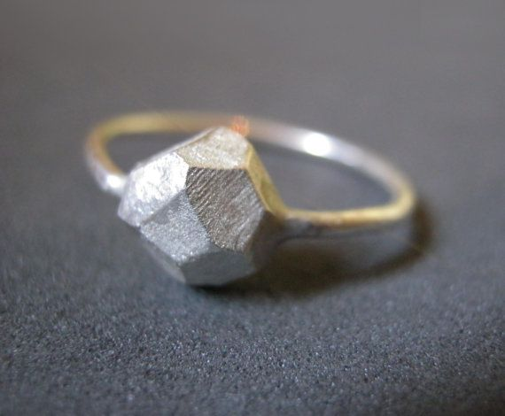 silver rock ring faceted jewelry geometric ring by StudioBALADI, $53.00