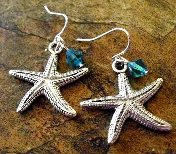 Starfish Earrings, Ocean Jewelry, Beach Jewelry, Crystal Starfish Earrings