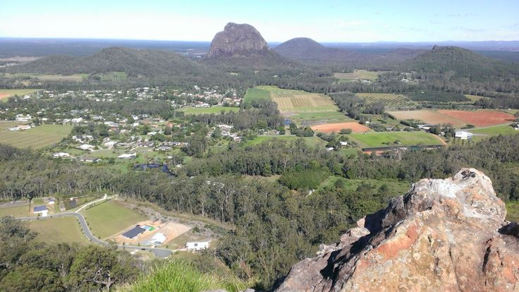View from the top of Mt NgunGun, Queensland Australia. Mount NgunGun is the sixth tallest of the Glass House Mountains.