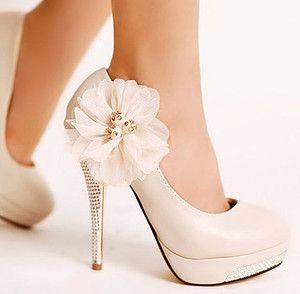 @Brittany Crane ... Sweet Ivory Glitter High Heel Stilettos Platform Lace Flower Wedding Shoes