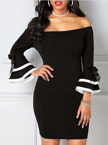 Silhouette  Bodycon Dress Length  Knee-Length Sleeve Length  Long Sleeve  Sleeve Type  Ruffle Sleeve Neckline  Slash Neck Combination Type  Single  Waist ... a065239d3439